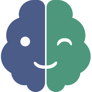 blue and celadon logo of winking brain for neurodiverse Alex