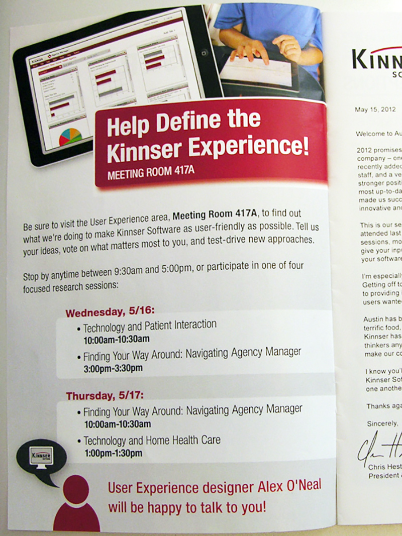 advertisement, UX lab, Kinnser User Conference