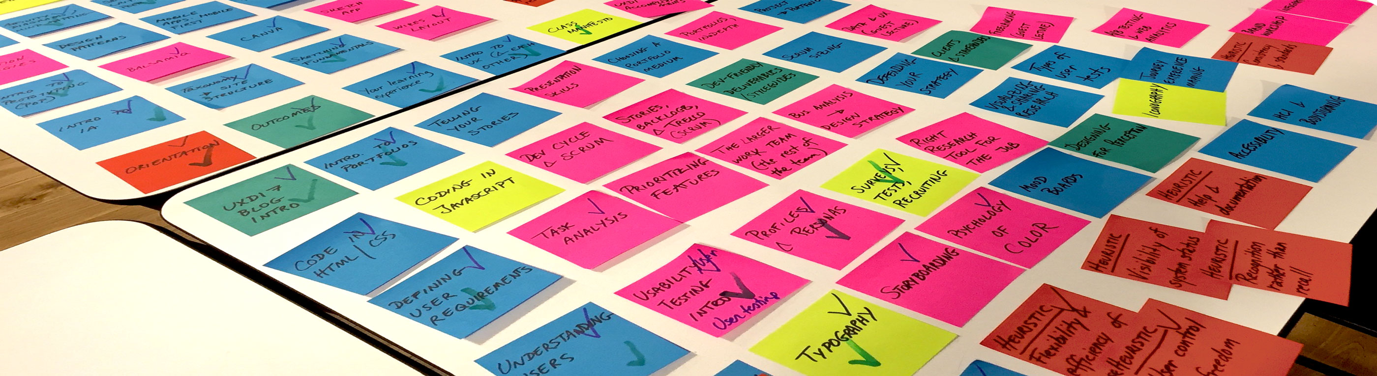 planning post-it notes for UX Design Immersive syllabus learning paths